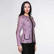 Одежда handmade. Livemaster - original item Lilac designer jacket in knitted Jersey with hand embroidery. Handmade.