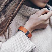 Украшения handmade. Livemaster - original item Red leather bracelet with insert and cast steel locks. Handmade.