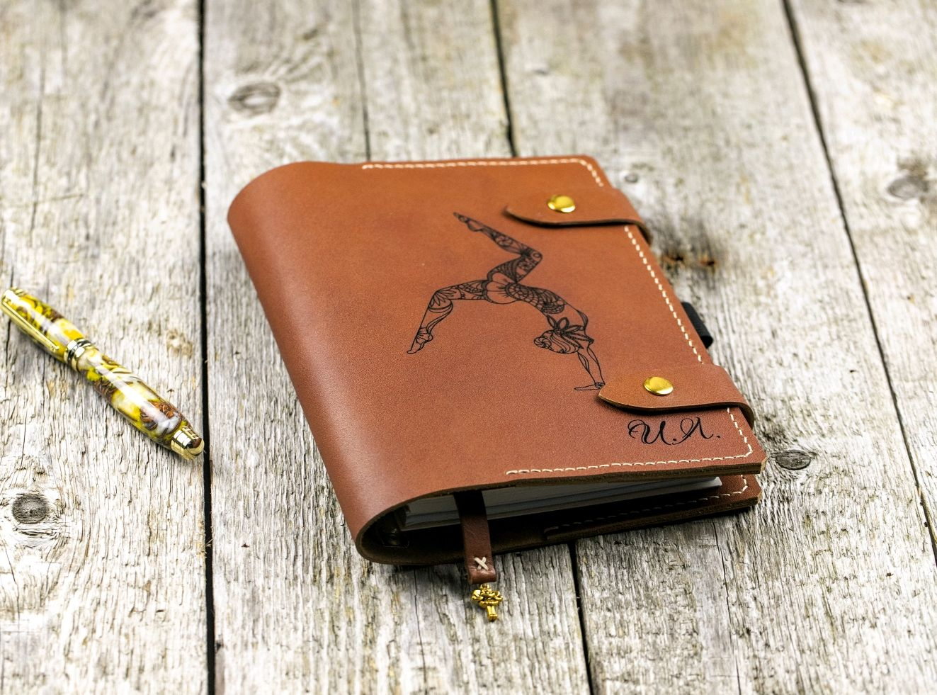 A5 leather notebook with any engraving, Diaries, Moscow,  Фото №1