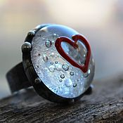 """Украшения ручной работы. Ярмарка Мастеров - ручная работа Кольцо """"Ледяная любовь"""" стекло. Handmade."""
