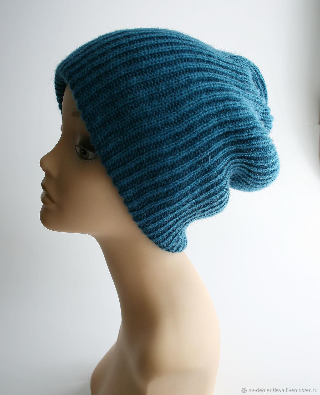Beanie hat with double POM-POM blue, Caps, Moscow,  Фото №1