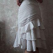 Винтажная одежда ручной работы. Ярмарка Мастеров - ручная работа Юбка DIDI, джинса и лен. Handmade.