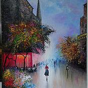 Картины и панно ручной работы. Ярмарка Мастеров - ручная работа Осенняя улица. Handmade.