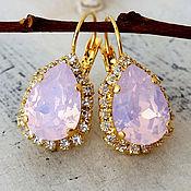 Украшения ручной работы. Ярмарка Мастеров - ручная работа Cерьги с нежно - розовыми кристаллами опалами. Handmade.