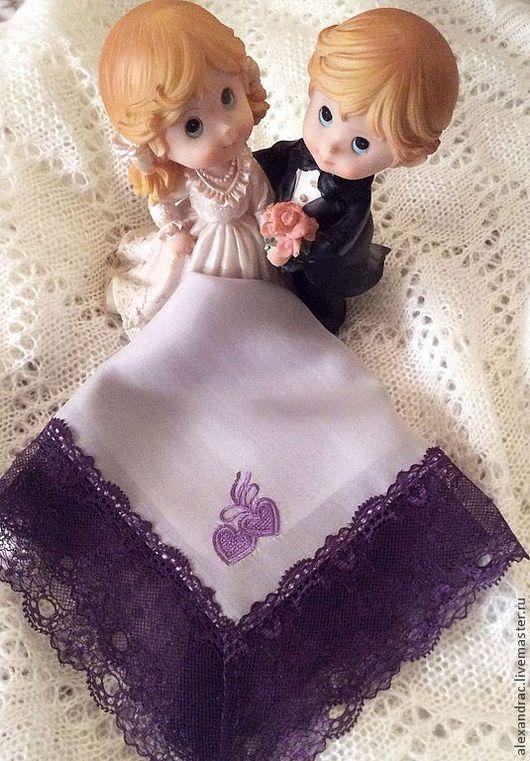 """Носовые платочки ручной работы. Ярмарка Мастеров - ручная работа. Купить Дамский платок """" Пурпурное сердце"""". Handmade."""