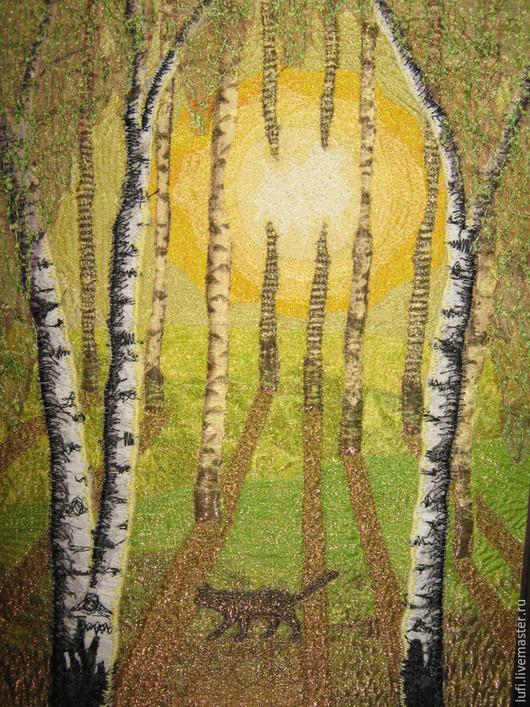 """Пейзаж ручной работы. Ярмарка Мастеров - ручная работа. Купить Квилт """"Березы"""". Handmade. Разноцветный, тени, весна"""