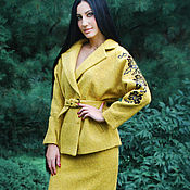 Одежда handmade. Livemaster - original item Warm embroidered costume Golden autumn hand embroidery, exclusive. Handmade.