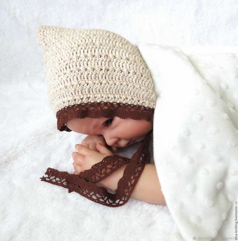 For Newborns handmade. Livemaster - handmade. Buy Knitted cap for newborn photo shoot, for girl beige.