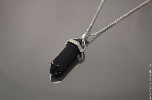 Кулоны, подвески ручной работы. Ярмарка Мастеров - ручная работа. Купить Кулон Черный агат пуля на цепочке. Handmade. Кулон