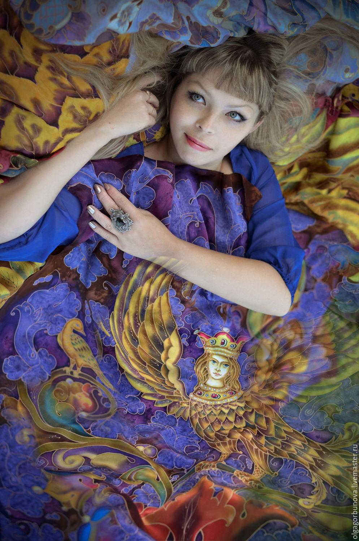 Batik scarf Sirin 110/110cm, Shawls1, Yaroslavl,  Фото №1
