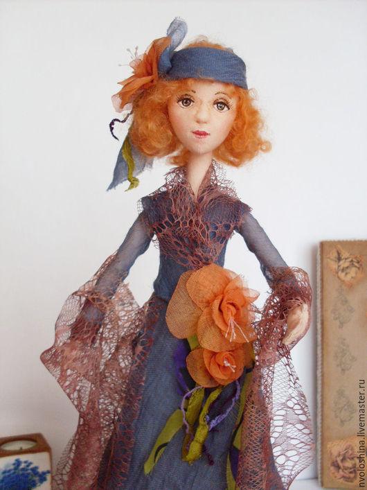 Коллекционные куклы ручной работы. Ярмарка Мастеров - ручная работа. Купить Текстильная кукла Барышня в винтажном стиле с цветами. Handmade.