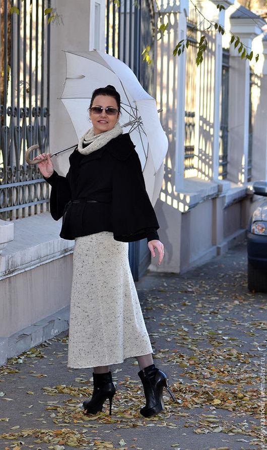 Юбки ручной работы. Ярмарка Мастеров - ручная работа. Купить вязаная юбка и снуд Шербурские зонтики. Handmade. Бежевый