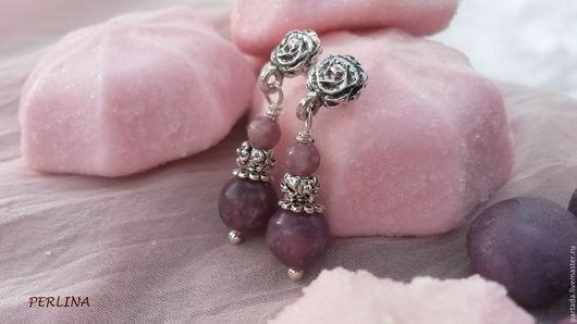 Серьги из розовых камней `Фея `Rose` , розовые серьги из натуральных камней турмалина, серьги из камней, купить серьги, купить украшения из турмалина, розовые серьги, сиреневые серьги, серьги серебро