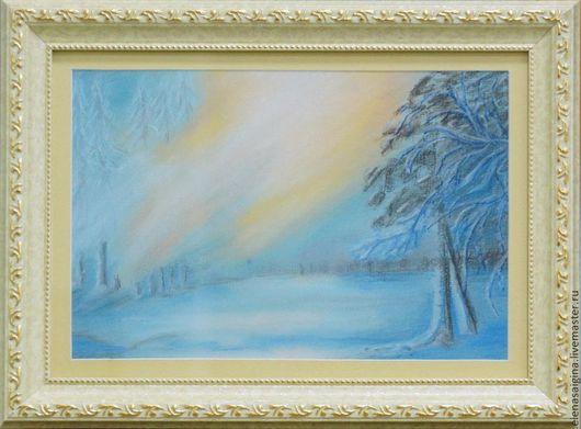 """Пейзаж ручной работы. Ярмарка Мастеров - ручная работа. Купить Пастель """"Утренний лес"""". Handmade. Пейзаж, зима, картина в подарок"""