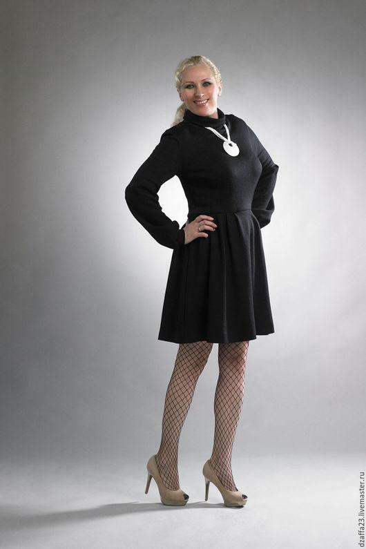 Платья ручной работы. Ярмарка Мастеров - ручная работа. Купить платье шерстяное. Handmade. Черный, модное платье, шерстяные ткани