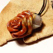 Украшения handmade. Livemaster - original item Carved agate pendant Stone rose. Handmade.