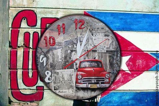 """Часы для дома ручной работы. Ярмарка Мастеров - ручная работа. Купить Часы настенные """"О Куба!"""". Handmade. Часы настенные"""