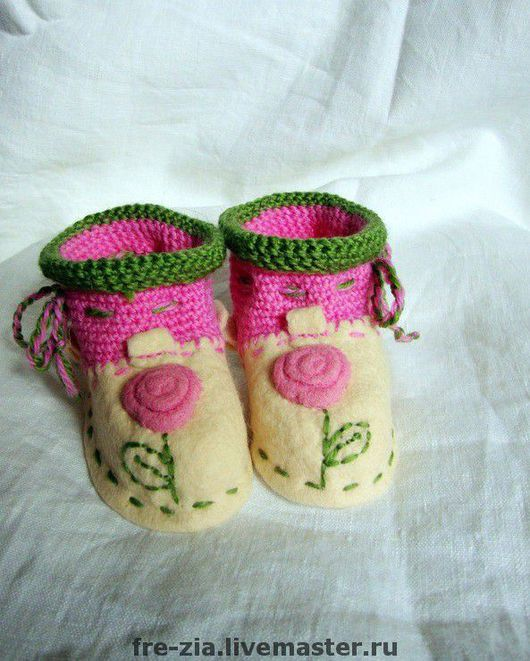 """Обувь ручной работы. Ярмарка Мастеров - ручная работа. Купить Пинеточки """"Колыбельная из роз"""". Handmade. Шерсть меринос"""