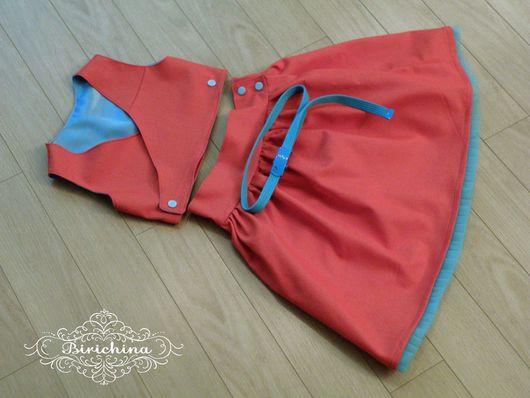 Одежда для девочек, ручной работы. Ярмарка Мастеров - ручная работа. Купить Комплект красно- голубой:). Handmade. Ярко-красный