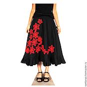 """Одежда ручной работы. Ярмарка Мастеров - ручная работа Льняная юбка """"Красное на черном"""". Handmade."""
