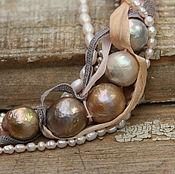 Necklace handmade. Livemaster - original item Necklace Feeling of Japan. Baroque pearl, silver, silk. Handmade.