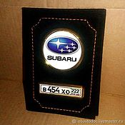 Канцелярские товары handmade. Livemaster - original item Suede cover with license Plate and Logo for auto documents. Handmade.