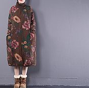 Одежда handmade. Livemaster - original item Winter dress big size / brown. Handmade.