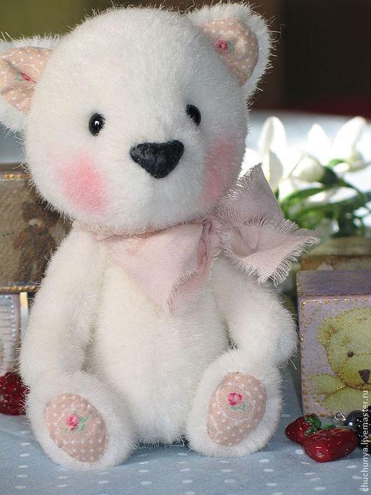 Мишки Тедди ручной работы. Ярмарка Мастеров - ручная работа. Купить Мишутка Рози. Handmade. Белый, муранское стекло, мех