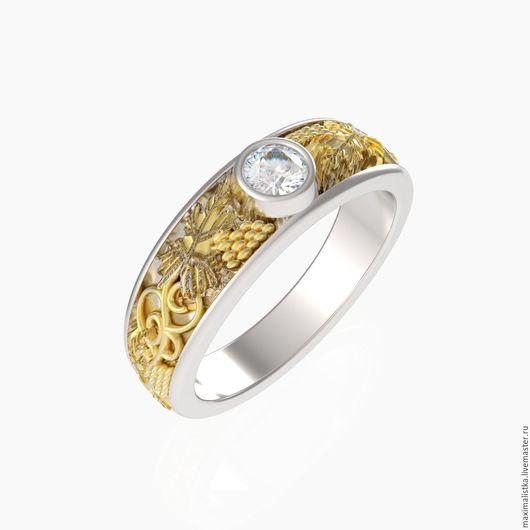 """Кольца ручной работы. Ярмарка Мастеров - ручная работа. Купить Кольцо """"Античная Греция"""" золотое, жёлтое золото, с бриллиантом. Handmade."""