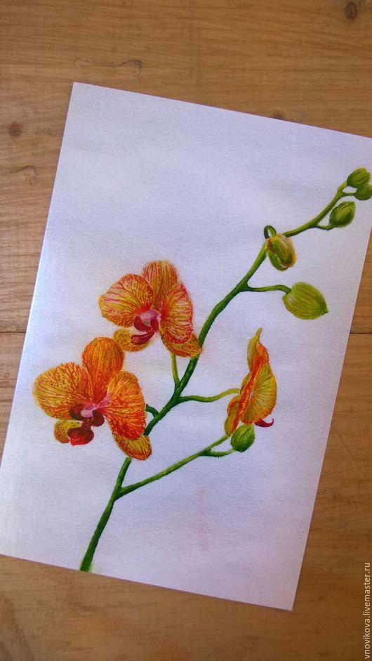 """Открытки для женщин, ручной работы. Ярмарка Мастеров - ручная работа. Купить Почтовая открытка """" Оранжевая орхидея"""". Handmade. Акварель"""