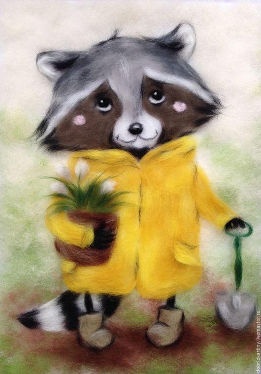"""Животные ручной работы. Ярмарка Мастеров - ручная работа. Купить """"Енотик"""". Handmade. Зеленый, Картины и панно, шерстяные картины"""