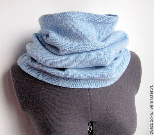 """Шарфы и шарфики ручной работы. Ярмарка Мастеров - ручная работа. Купить шарф - снуд """"Soft"""" нежно-голубой меланж. Handmade."""