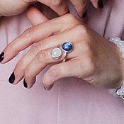 Двойное кольцо с розовым кварцем и кианитом