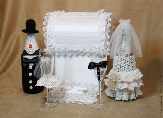Свадебные аксессуары ручной работы. Ярмарка Мастеров - ручная работа. Купить Свадебный набор. Handmade. Чёрно-белый, атлас