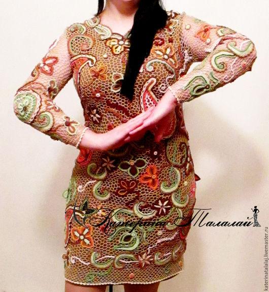 """Платья ручной работы. Ярмарка Мастеров - ручная работа. Купить Платье """"Осенний Рассвет"""". Handmade. Разноцветный, Платье нарядное"""