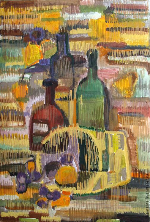 Картина. Натюрморт с бутылками работа Татьяны Петровской