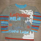 Винтаж handmade. Livemaster - original item Vintage clothing: Print long sleeve t-shirt size 98. Handmade.