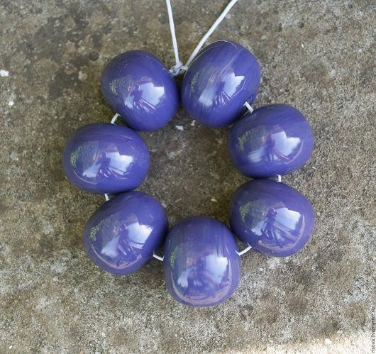 Для украшений ручной работы. Ярмарка Мастеров - ручная работа. Купить Комплект 7 полых бусин фиолетовые. Handmade. Фиолетовый
