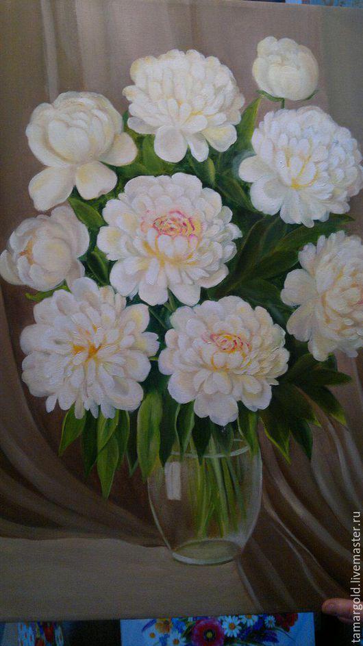 """Картины цветов ручной работы. Ярмарка Мастеров - ручная работа. Купить """"Белые пионы"""" 50/70. Handmade. Белый, холст"""