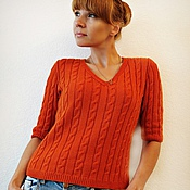 """Одежда ручной работы. Ярмарка Мастеров - ручная работа Вязаный кашемировый пуловер с косами  """"Рыжая"""". Handmade."""