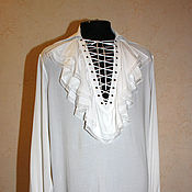 Одежда handmade. Livemaster - original item Wedding cambric shirt with frills and lacing. Handmade.