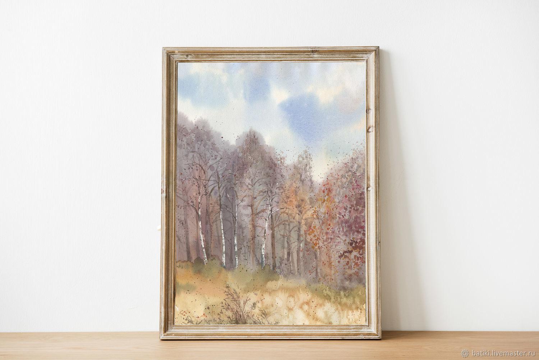 Осенний лес. Жикле на акварельной бумаге, Картины, Санкт-Петербург,  Фото №1
