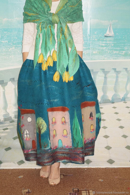 Палантин на шелке валяный Желтые тюльпаны, Палантины, Ижевск,  Фото №1