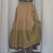Одежда ручной работы. Ярмарка Мастеров - ручная работа №150.1 длинная юбка -бохо льняная. Handmade.