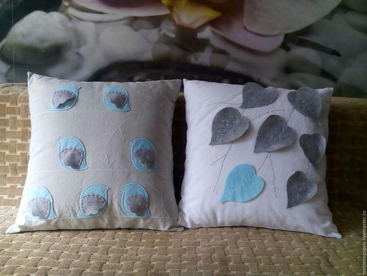 """Текстиль, ковры ручной работы. Ярмарка Мастеров - ручная работа. Купить Комплект """"Мятный лист"""" (подушки+подвески). Handmade. Комбинированный, подарок"""
