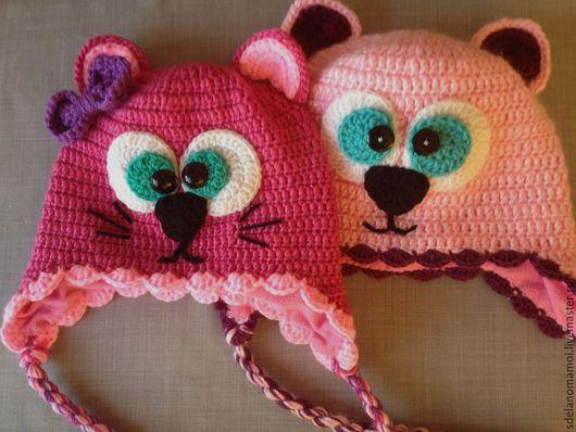 Шапки и шарфы ручной работы. Ярмарка Мастеров - ручная работа. Купить Кисонька. Handmade. Розовый, шапка кошка, шапка детская