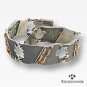 Украшения handmade. Livemaster - original item Bracelet sterling silver gilded Denim (mobile,silver, gilding). Handmade.