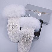 Аксессуары handmade. Livemaster - original item Mittens, Wedding gloves, Bridal mittens, Gloves with fur. Handmade.