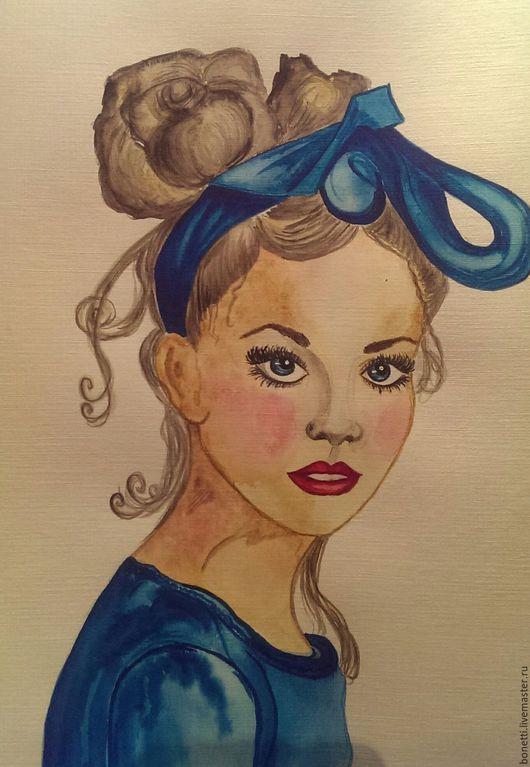 Люди, ручной работы. Ярмарка Мастеров - ручная работа. Купить девушка в бирюзовом. Handmade. Тёмно-бирюзовый, бант, акварельная картина