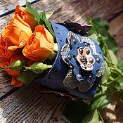 Украшения ручной работы. Ярмарка Мастеров - ручная работа яркий кожаный браслет с цветами. Handmade.